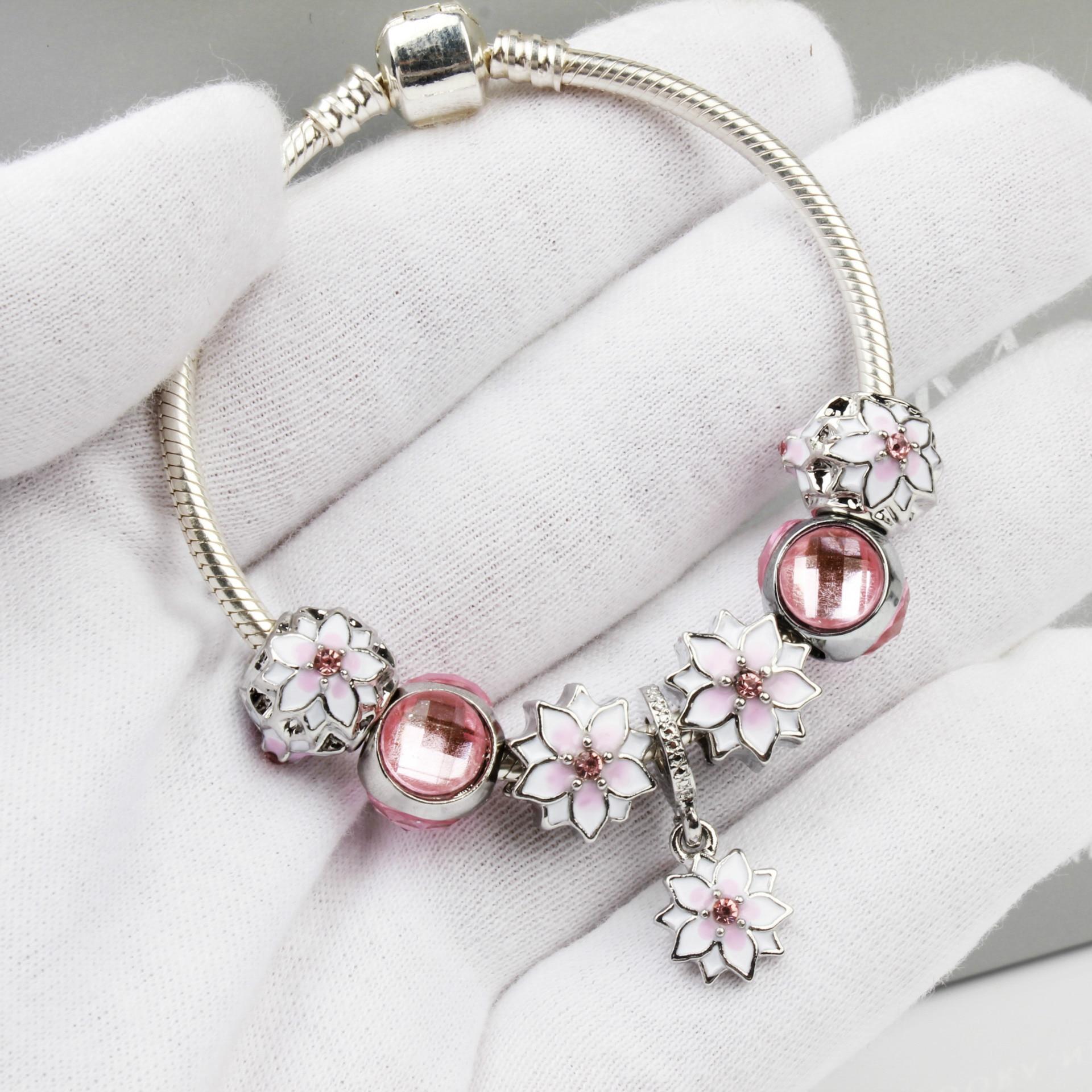 New S925 silver Fit Original Pandoras handmade DIY Pink Magnolia pendant bracelet jewelry crystal charm beads bracelets for Gift(China)