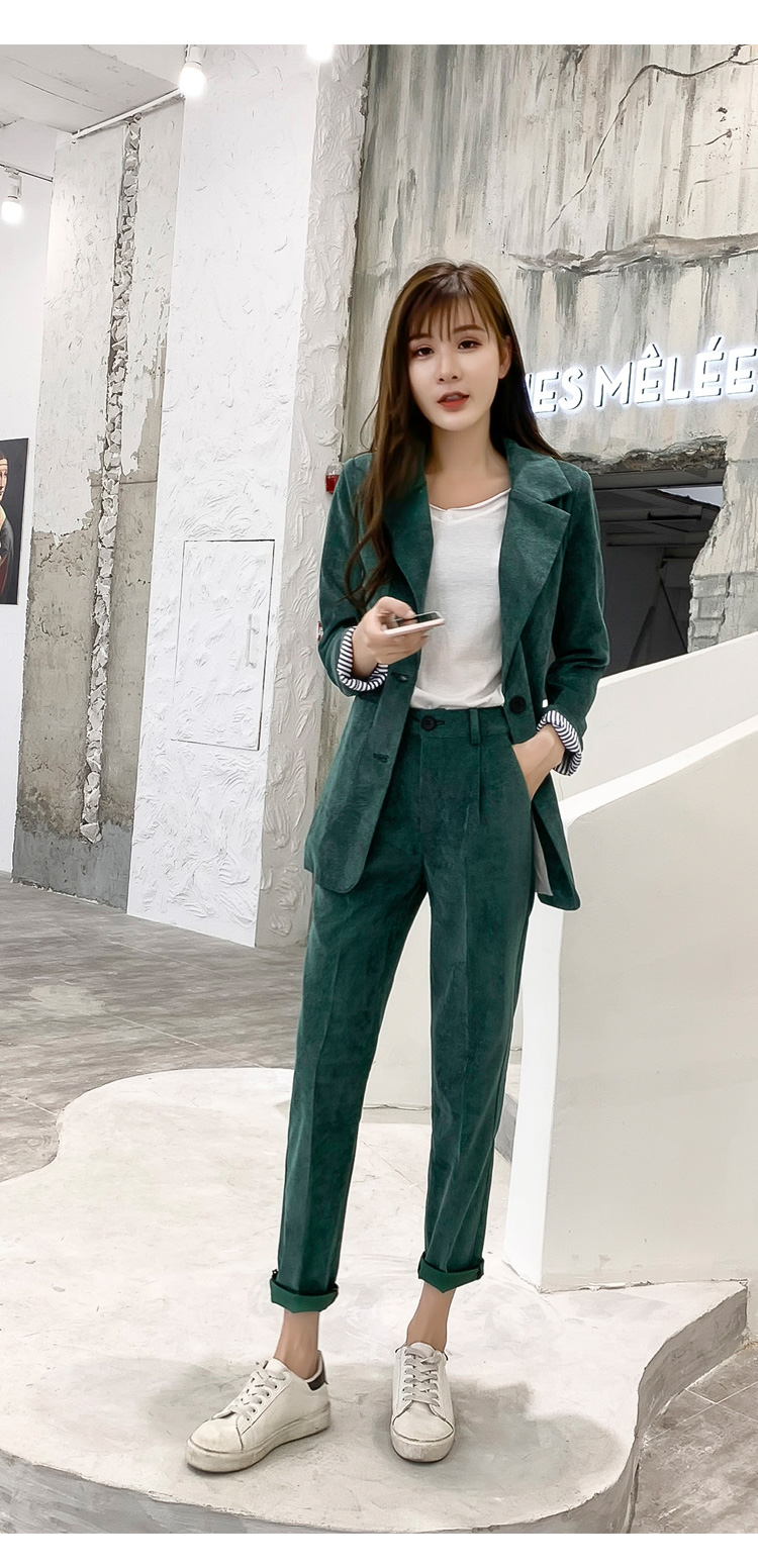 Autumn Winter Blazer Pants Suit Women Korean Chic Fashion Office Ladies Green Corduroy Casual High Waist Small Feet Pants Suit 59