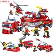 YUKALA 348 sztuk walki z ogniem samochód helikopter model łodzi Building Blocks miasto strażak figurki ciężarówki cegły dzieci