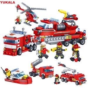 Image 1 - YUKALA  348pcs Fire Fighting Car Helicopter Boat Model Building Blocks City Firefighter Figures Trucks Bricks Childre