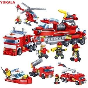 Image 1 - Yukala 348 pçs carro de combate a incêndios helicóptero barco modelo blocos de construção cidade bombeiro figuras caminhões tijolos criança