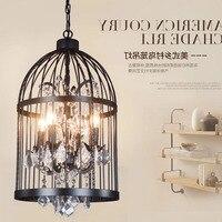 Nordic Individuality Art Iron Bird Cage Pendant Light Crystal Cafe Restaurant Decoration Hanging Lamp hanging lamp