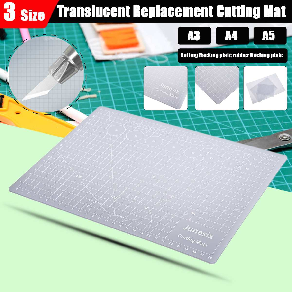 NEW A3, A4, A5 Transparent Replacement Cutting Mat Adhesive Mat Composite PVC With Measuring Grid For Silhouette Cameo Plotter
