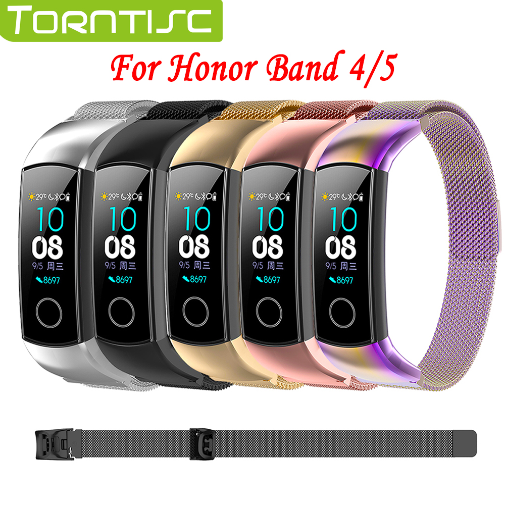Torntisc Replaceable Magnetic Milanese Stainless Steel Strap For Honor Band 4 And Hornor Band 5