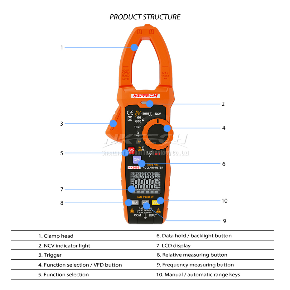 NKTECH NK260E Digital Clamp Meter Analogue Bar Graph Ture RMS Temperature LowZ 1000V AC DC Volt Ammeter 1000A OHM Frequency 10mF-in Clamp Meters from Tools    3