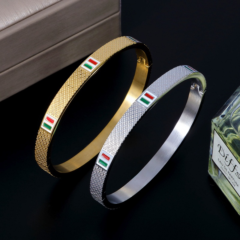 New Luxury Brand Stainless Steel Bangle Bracelet Trendy Simple Red Green Square CZ Bangles For Women Bracelets Jewelry Gift