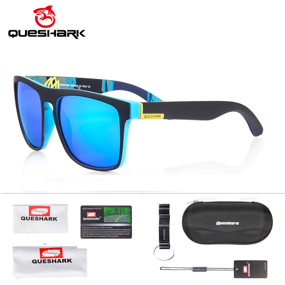 QUESHARK Polarized Sports Glasses Driving Glasses Shades For Men Women Square Sun Glasses Classic Design Mirror Eyewear