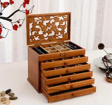 Clover real wood jewelry box jewelry box retro style large multilayer marriage holiday gift