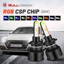 Bullvision – phare LED H4, yeux d'ange, rvb, couleur changeante, H7 H11 HB3 HB4 H8 9005 9006, ampoule de voiture, contrôle Bluetooth, yeux du diable