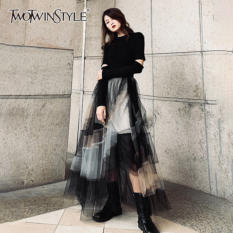 TWOTWINSTYLE Elegant Print Hit Color Women's Skirts High Waist Patchwork Mesh A Line Skirts Female 2020 Spring Fashion New