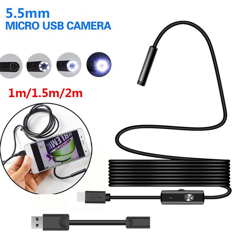 Ear Spoon Borescope Endoscope Inspection Computers Mobile Phones 5.5mm 6 LED Practical Portable USB Photos Real-Time Video