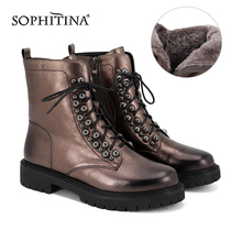 Heel-Shoes Ankle-Boots SOPHITINA Zipper Genuine-Leather High-Quality MC395 Square Comfortable