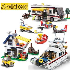 ¡Nuevo! Bloques de construcción de 792 Uds. 3 en 1 para vacaciones Getaways Camper verano con 2 figuras aptas para 31052 ladrillos de juguete para niños