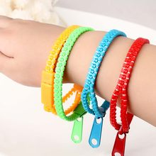 5ps New Fluorescent Color Rainbow Zipper Bracelet Zip Bangles Wristband for Women Men Kids Jewelry Wholesale(China)