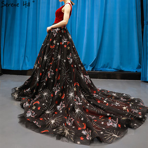 Image 3 - Red Black Embroidery Sepuins Sexy Evening Dresses 2020 A Line Neck Sparkle Formal Dress Serene Hill HM66808