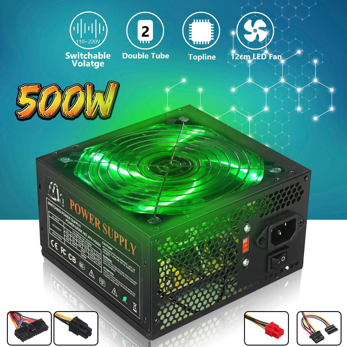 500W Power Supply 120mm LED Fan 24 Pin PCI SATA ATX 12V PC Computer Power Supply 110~220V For Desktop Gaming