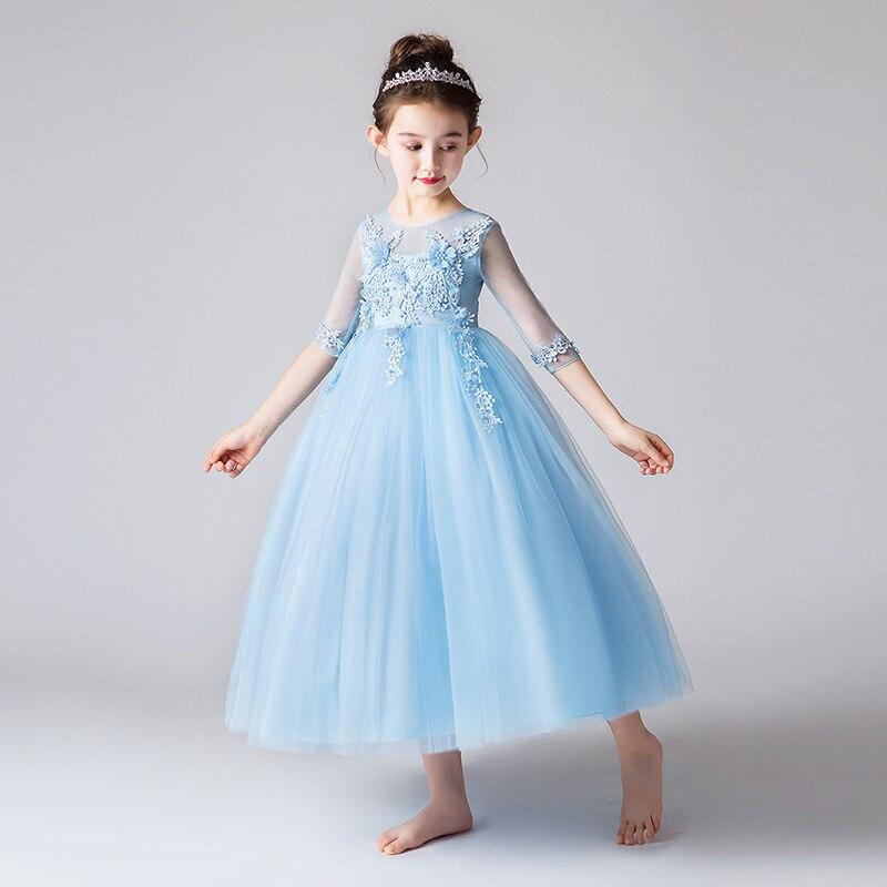 Girls Long Formal Dress Princess Dress 2019 Summer New Style Children Wedding Dress Skirt CHILDREN'S DAY Performance Costume Chi