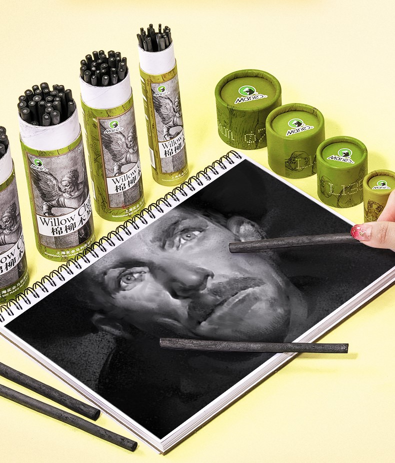 Высокое качество художника ивы лоза эскиз палочки для древесного угля ок. 4-5 5-7 7-9 мм диаметр в упаковке 25 легко окрашивается можно протирать и стирать