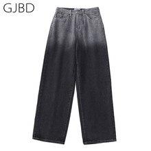Calças de brim femininas 2021 primavera nova streetwear cintura alta perna larga calças baggy smoky cinza tie dye moda femme reta denim