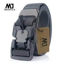 MEDYA-cinturón táctico oficial de liberación rápida, hebilla magnética, cinturón militar, nailon suave Real, accesorios deportivos MN057