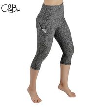 цены ChaBin New Women Solid Yoga Pants with Sport Legging Fitness Tights Gym Exercise High Waist Push Up Running Trousers Sportwear