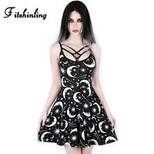 Fitshinling Harajuku Galaxy Gothic Dresses Women Strap Sleeveless Vestidos Goth Dark Black Slim Backless Sexy Dress Female Sale