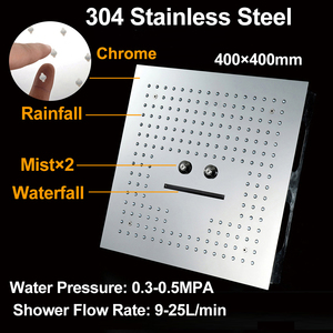 Image 4 - אמבטיה 3 פונקציות Led מקלחות 16 אינץ גשם מקלחת ראש 304 נירוסטה תקרת כיכר ספא מפל מקלחות פנל