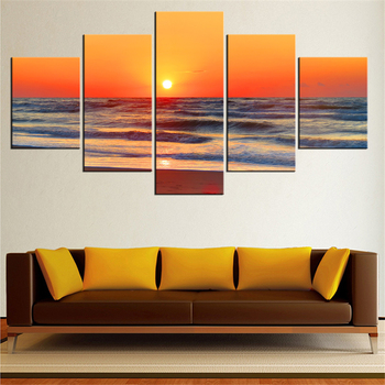 5 Pieces Panel Modern Canvas horizon Painting Wall Art The Picture For Home Decoration print Giclee Artwork For Wall Decor