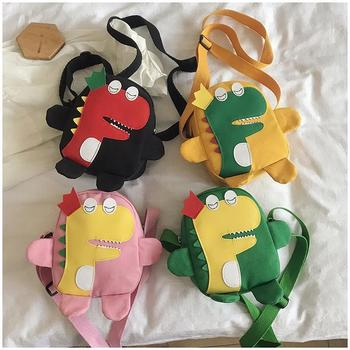 Cute Children Canvas Small Crossbody Bags Lovely Cartoon Dinosaur Boys Girls Shoulder Bag Fashion Kids Coin Purse Mini Wallet new fashion women sweet cute ladies girls kids coin purses silicone wallet cartoon clutch purse chain mini bag small coin bags