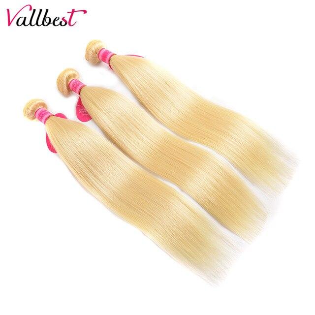 Vallbest 613 mechones con pelo lacio brasileño Frontal 3 mechones con cierre Remy extensiones de cabello humano mechones con Frontal