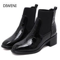 Solid Leather Boots Woman Martin Boots Winter Short Ankle Booties Pointed Toe Thick High Heels Chelsea Botas Snow Shoes B220