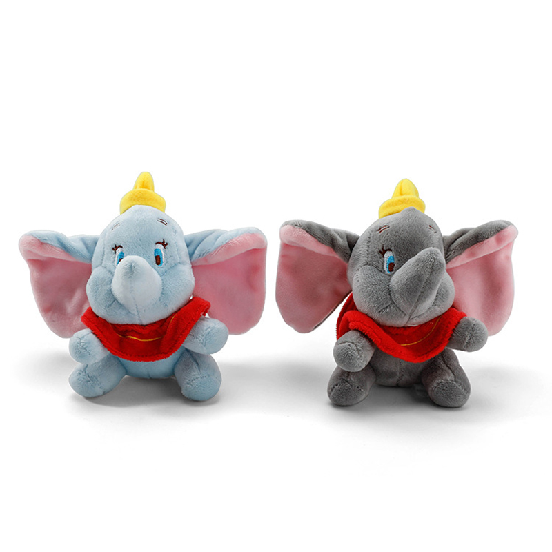 10cm Cute Dumbo Elephant Stuffed Animal Plush Toy Small Pendant Lovely Cartoon Elephant Doll Presents For Children Key Chain