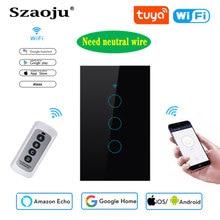 Szaoju WIFI+433RF Touch Wall Switch US Standard White Crystal Glass Panel Tuya Smart,1 Set 1 Way, Wall Light,Need Neutral Wire