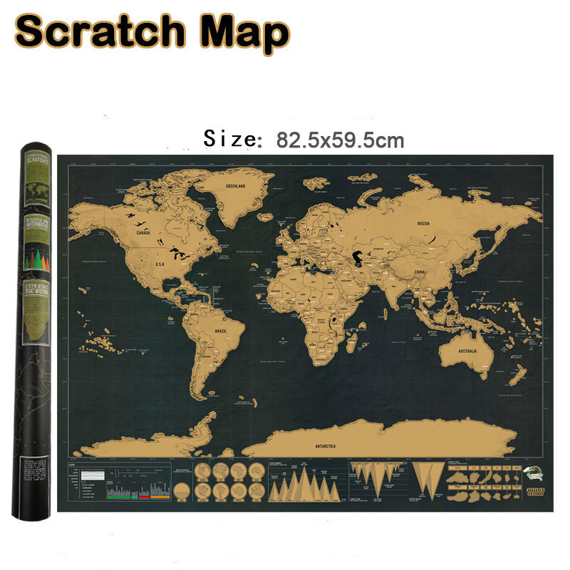 Deluxe Erase World Travel Map Scratch Off World Map Travel Scratch For Map 82.5x59.5cm Room Home Office Decoration Wall Stickers