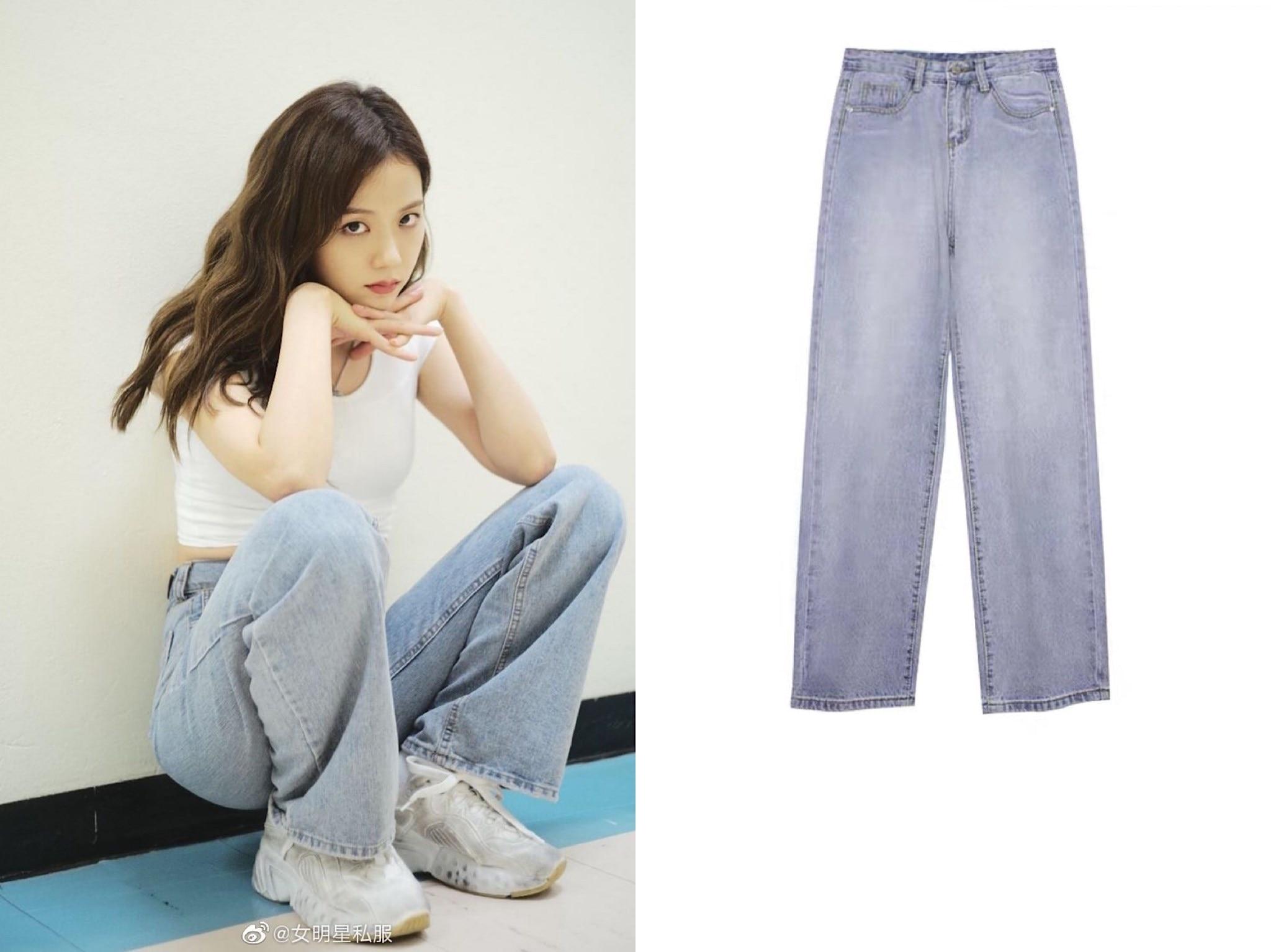 Kpop Blackpink Jisoo Same Summer Loose High-waist Wide-leg Denim Pants Women Korean Streetwear Female Wild Casual Straight Jeans