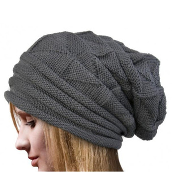Men Women Beanie Hats Knit Ski Cap Winter Warm Loose Wool Hat Female Male Skullies Elastic Baggy Crochet Caps #2 image