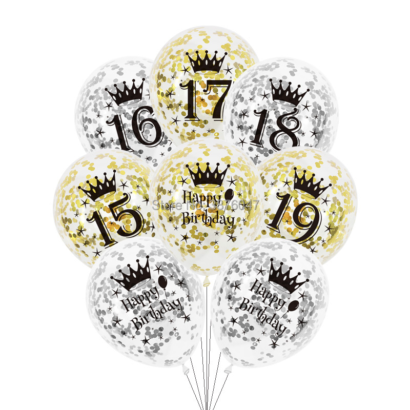 6 pçs/lote 15 16 17 18 19 feliz aniversário balões ouro prata 16th 18th decorações de festa transparente confetes aniversário balão