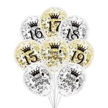 Balões de feliz aniversário, 6 pçs/lote 15 16 17 18 19 dourado e prateado, decorações de festa, transparente, balão de confete para aniversário