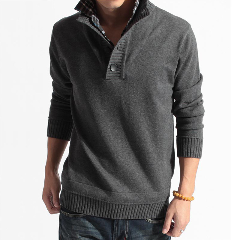 Thick Korean Version Of The Fake Two Men's Sweater Collar Collar Sweater Shirt Collar Men's Sweater Manufacturers