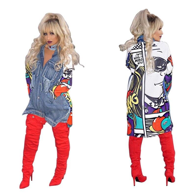 Уличная Женская куртка в стиле хип-хоп, осенняя, с отворотом, с принтом, ковбойская, с разрезом, свободная, длинная, большого размера