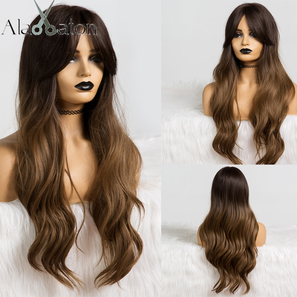 ALAN EATON Long Wavy Ombre Black Dark brown Wig with Bangs Wave Heat Resistant Synthetic Wigs for Women African American CosplaySynthetic None-Lace  Wigs   -