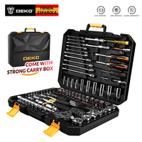 DEKO 140 Pcs Professional Car Repair Tool Set Auto Ratchet Spanner Screwdriver Socket Mechanics Tools Set W/ Blow Molding Box