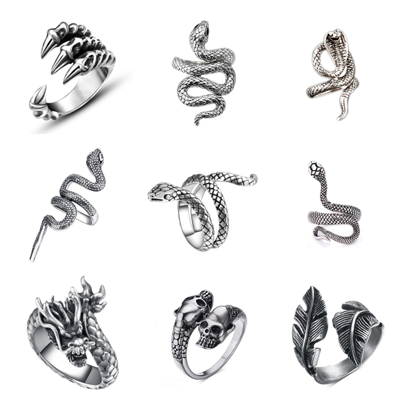 Free Fan Cool Retro Punk Exaggerated Men Snake Ring Fashion Personality Snake Opening Adjustable Ring Jewelry For Mens Gift(China)