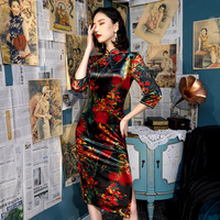 Plus Size 5XL Sexy Autumn Short Floral Handmade Button Silm Qipao Chinese Traditional Women Dress Vintage Lady Sexy Cheongsam