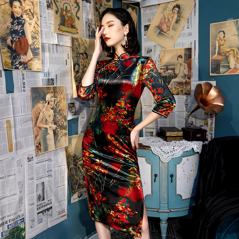 Plus Size <font><b>5XL</b></font> <font><b>Sexy</b></font> <font><b>Autumn</b></font> Short Floral Handmade Button Silm Qipao Chinese Traditional Women Dress Vintage Lady <font><b>Sexy</b></font> Cheongsam image