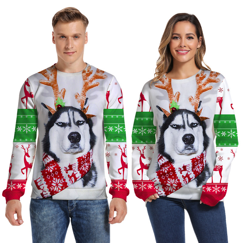 Round Neck 3D Printing Christmas Sweater Unisex Men Women Ugly Christmas Sweater Spoof Funny Couple Wear Xmas Clothing