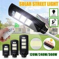 120 w 240 w 360 w led ao ar livre iluminação lâmpada de parede luz de rua solar movido a energia solar radar movimento controle remoto luz para jardim quintal|Luzes de rua| |  -