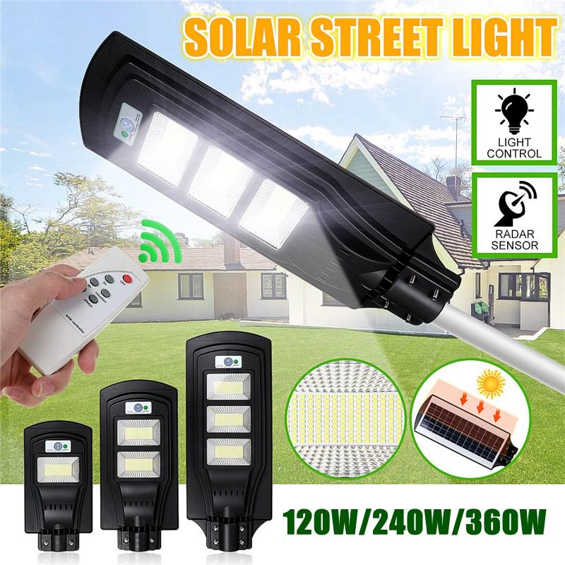 120W 240W 360W LED Outdoor Lighting Wall Lamp Solar Street Light Solar Powered Radar Motion Remote Light Control for Garden Yard