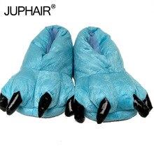 лучшая цена Men's Slippers Winter Warm Thicken Insole Cotton Boys Slipper Shoes Paw Animal Funny Christmas Dinosaur Monster Claw House Plush