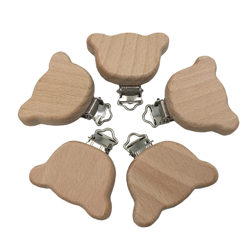 5pc Natural Beech Wood Baby Pacifier Clips Dummy Clips DIY Pacifier Chain Accessory
